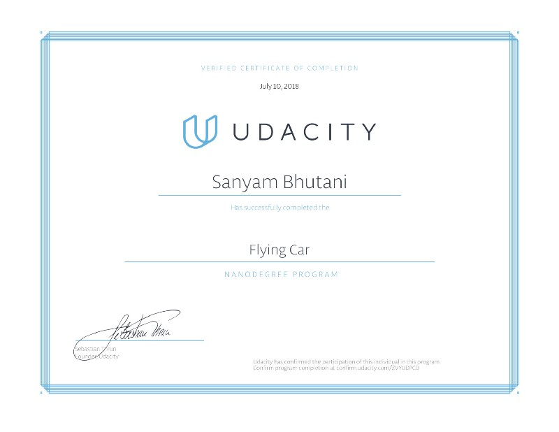 Graduating the Flying Car Nanodegree Term